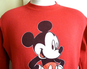 vintage 80 90's Mickey Unlimited Mickey Mouse Disney Character Disneyland souvenir graphic sweatshirt crew neck red fleece pullover boxy cut