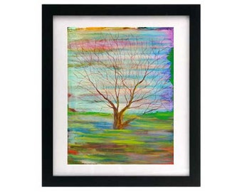 8.5 x 11 Tree Painting ~ Signed & Numbered Print ~ Colorful Trees Print