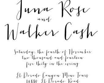 Modern Calligraphy Wedding Invitation with RSVP