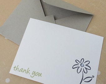 Mini thank-you note card stationery set, blank cards hand stamped with flower and hand made matching craft envelope, set of 5.