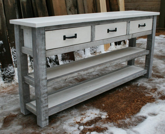 White Reclaimed Rustic Entry Table by EchoPeakDesign on Etsy