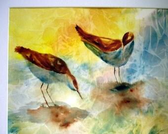 Watercolor painting, original art, seashore painting, sandpiper painting, beach art, bird painting, corporate art, anniversary gift