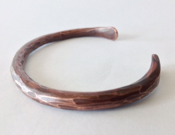 Hand Forged Copper Bracelet. Size Large. Rustic Charm. Cool gifts for men or women. Fight Arthritis with style.