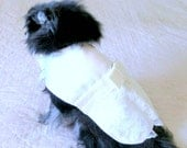 Small Dog Wedding Dress Made to Order - Ivory Satin w/Bouffant Lace Overlay, Sash, Lace-Covered Bow and Bouquet