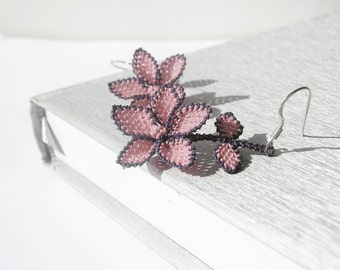 Dusty rose pink lace earrings, mauve pastel pink, lace flower dangle earrings, embroidery jewelry, bridal vintage design weddings lace