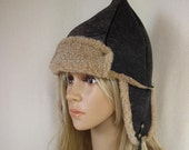 Lamb Leather Winter Hat Ear Flat Very Light and Warm Abraded Graphit