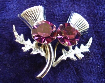 Spectacular Scottish Thistle Brooch Silver Tone Amethyst Color Stone