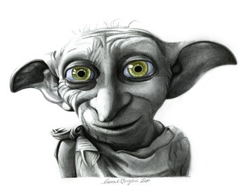 Dobby from Harry Potter Pencil Drawing A3 PRINT by Coral Briglia