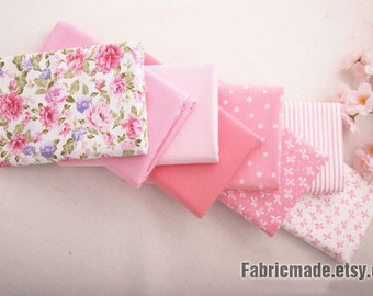 """Fat Quarter Bundle / Pink Cotton Bundle Fabric / Quilting Fabric Bundle/ Light Pink Fabric - 9 Bundle each 20""""X30"""""""