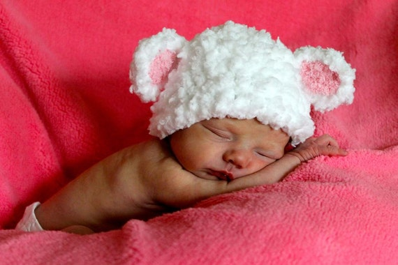 Baby Lamb fluffy white Pink Ears Crochet Hat Newborn Photo