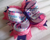 Back to School Hair bow Girls Pink Purple Pola Dot Diva Bows