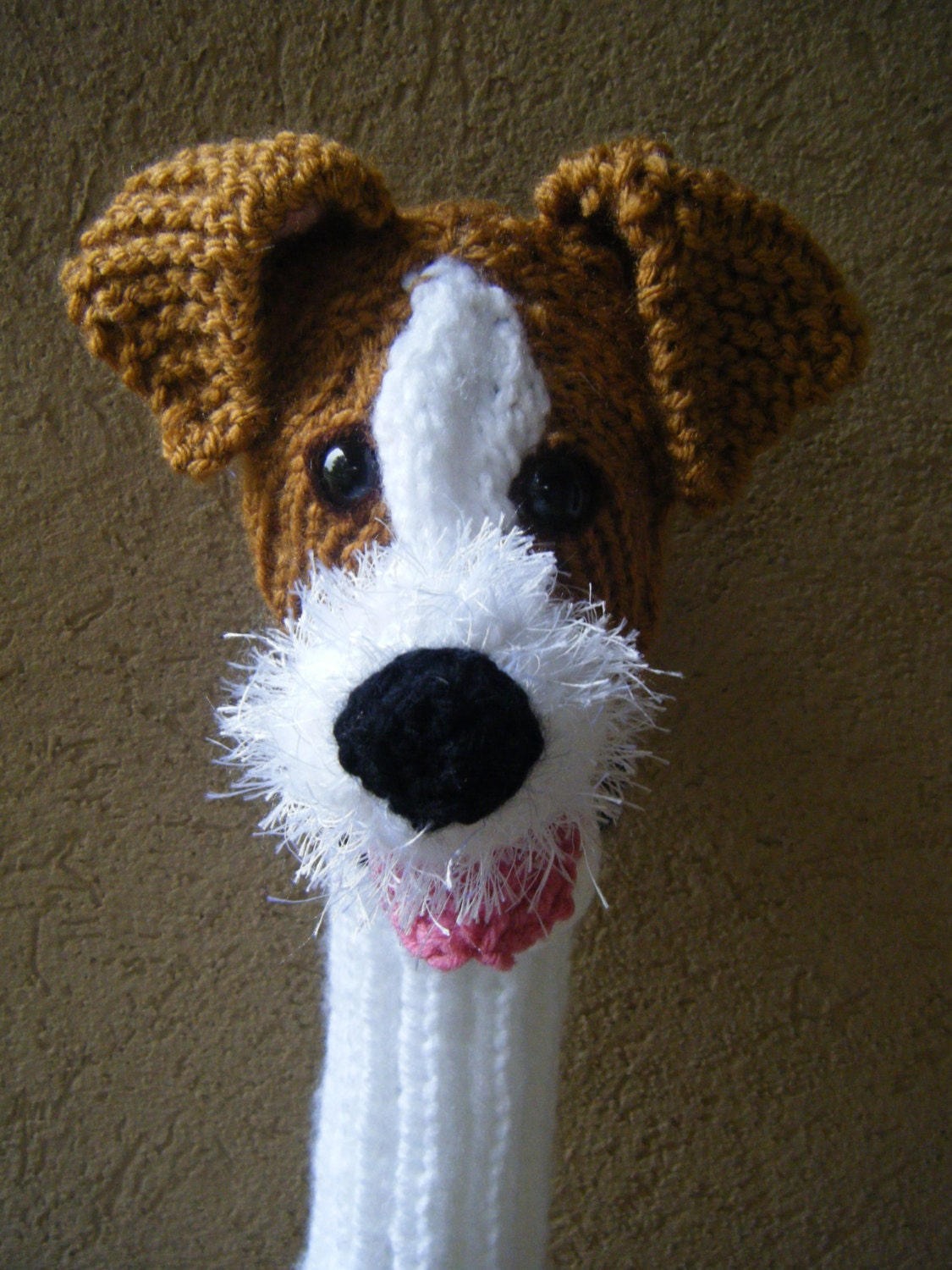 Knitting Pattern For Jack Russell Dog : Hand knit Jack Russell Terrier dog golf club cover by karenshines