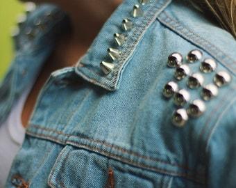 Studded Denim Jacket Jeans Blue Oversize 90s