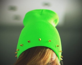 SALE -20% Studded spiked BEANIE Neon Green