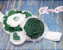 College Gameday Headband, Green, White, Michigan State University Hair Clip, Spartans, Team Spirit Hair Bow, Flower Hair Accessory, Custom