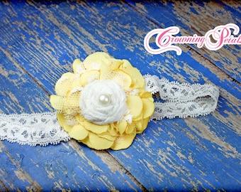 Yellow, White Fabric Flower Hair Accessory, Hair Bow, Sunshine Yellow, Baby Girl Headband, Newborn Hair Bow, Flower Hair Clip