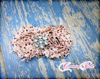 Shabby Chiffon Valentines Headband, Red Pink Heart headband, Shabby Flower Hair Piece, Girls Headband, Baby Headband, hair accessories, clip