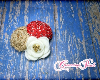 Burlap, Red, Ivory Hair Bow, Headband, Baby Girl Hair Accessories, Cream, Burlap Flower Bow, Fabric Flower Brooch, Hair Clip, Tan Hair Piece