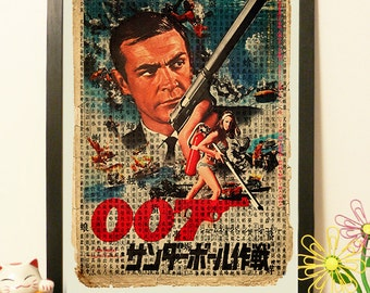 Agent 007 Poster Movie Japanese - Vintage Japan paper Dictionary Print