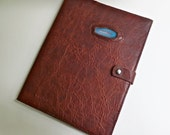 Journal/sketchbook with bison leather cover inlaid with agate stone.