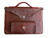 Buffalo hide laptop carrying case, bison leather computer case