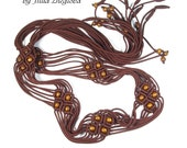 Macrame Brown Belt with tassels and wooden beads, lace women belt
