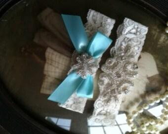 SALE-Wedding Garter-aqua-robbins egg-Blue-Lace Garter-Rhinestone Garter- Applique Garter-Vintage-Bridal Garter- Vintage Garter - Toss Garter