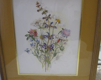 Floral Flower Print in wood frame-vintage- colorful and cheerful from the 1960s