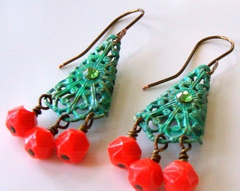 Turquoise verdegris filigree earrings - Vintage orange glass bead earrings