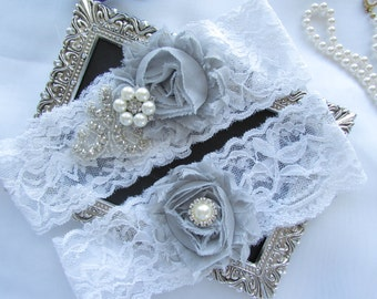 GREY/  White Lace Garter Wedding Garter Set/ Bridal Garter Set.