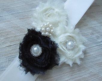 SALE Wedding Belt, Bridal/ Wedding Belt, Bridal Belt, Sash Belt /3 flowers , ( 1Navy & 2 Ivory)