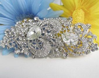 Large Crystal Bridal Brooch Pin, Swarovski Pearl Bridal Broach, Bridal Dress Jewelry, Wedding Rhinestone Brooch