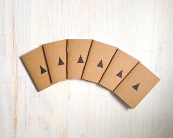 Tiny Journals: Notebooks, Triangle, Geometric, Favors, Brown, Small Notebooks, Unique, Gift, Stocking Stuffer, For Him, For Her, Hostess