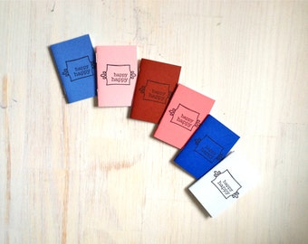 Tiny Journals: Notebooks, Happy Happy, Natural, Pink, Blue, Kids, Small Notebooks, Unique, Gift, Stocking Stuffer, For Him, For Her