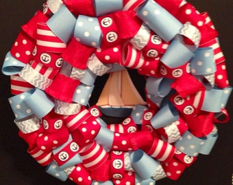 Preppy Natutical Wreath Sailboat and Anchor wreath- Ready to ship