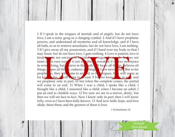 wall art 1 corinthians 13 love scripture 8x10 by. Black Bedroom Furniture Sets. Home Design Ideas