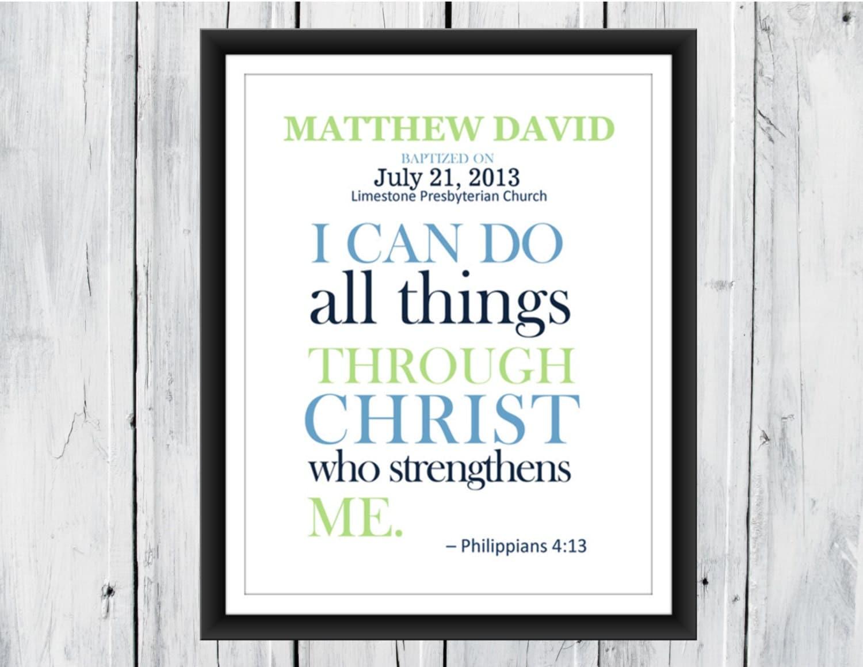 Baptism Christening Bible Verse Custom Print