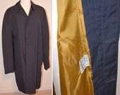 60's Jacket, Men's Charcoal Gray Coat, Trench Coat, Plymouth of Boston Dark Gray Trench Coat, Rain Coat, Gray Jacket, Water Repellent Coat