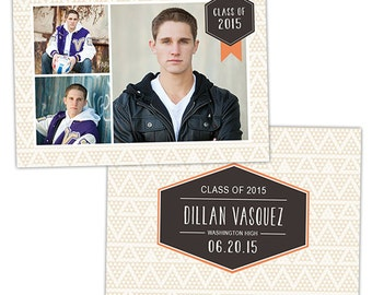 Senior Graduation Announcement Card Template for Photographers - Photoshop Templates for Photographers - Photo Card Template - GD122