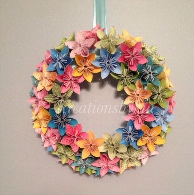 Origami paper flower wreath wedding birthday
