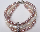 Triple strand Pearl Bracelet - Silver Rhinestone Spacer - Wedding Bracelet -  Bridesmaid - Pink - Peach - Ivory White - Mauve