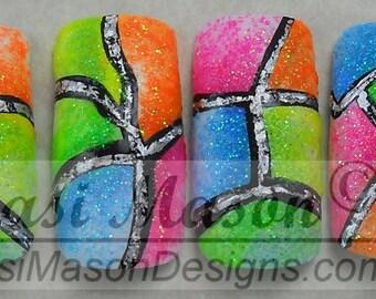 Neon Color Blocks Instant Acrylic Nail Set