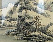Vintage Small Framed Signed Chinese Hand Painted River Side Mountain Scene Painting- Kath