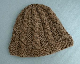 Hand-Knit Hat in Merino Wool yarn