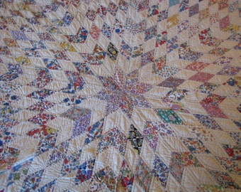 Vintage 1930's Lone Star Hand Sewn and Hand Quilted - Never Used - Quilt Rescue