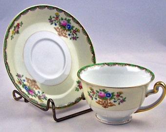 Vintage Teacup & Saucer Floral Green Meito Japan