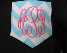 Monogram Pocket Tee Long Sleeve Teenage Girl Gifts Teen Gift Personalized Tshirt t shirts Chevron Pocket Monogram t shirt  - Embroidery