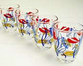 Set of 4 Vintage Multi-Coloured Shot Glasses