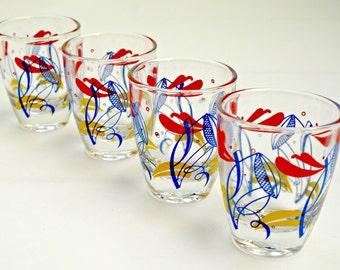 Set of 4 Vintage Multi-Coloured Shot Glasses