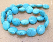 One Full Strand--- Charm Coin Turquoise Gemstone Beads ----6mmx 16mm----27 Pieces----15.5 inch strand